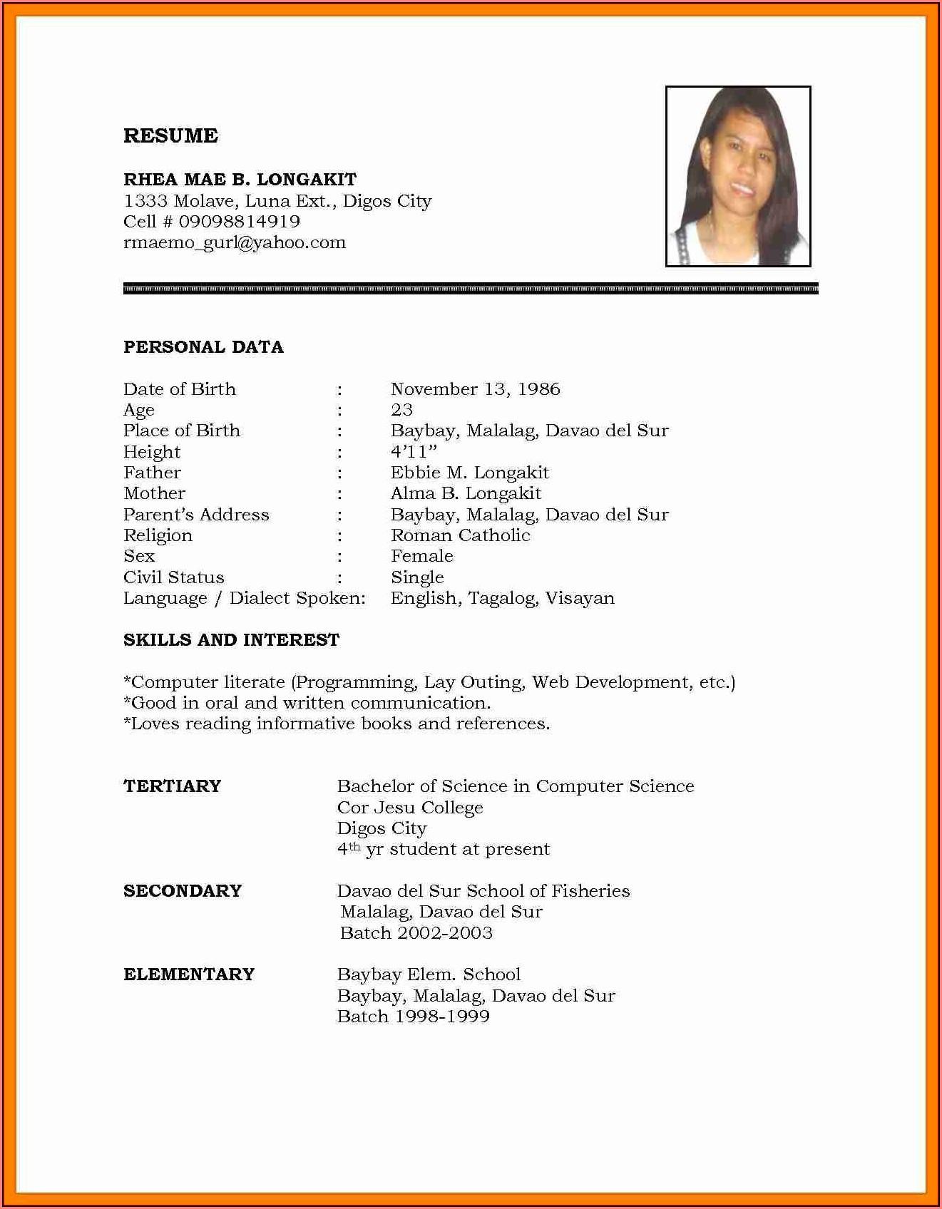 Free Online Resume Format Download