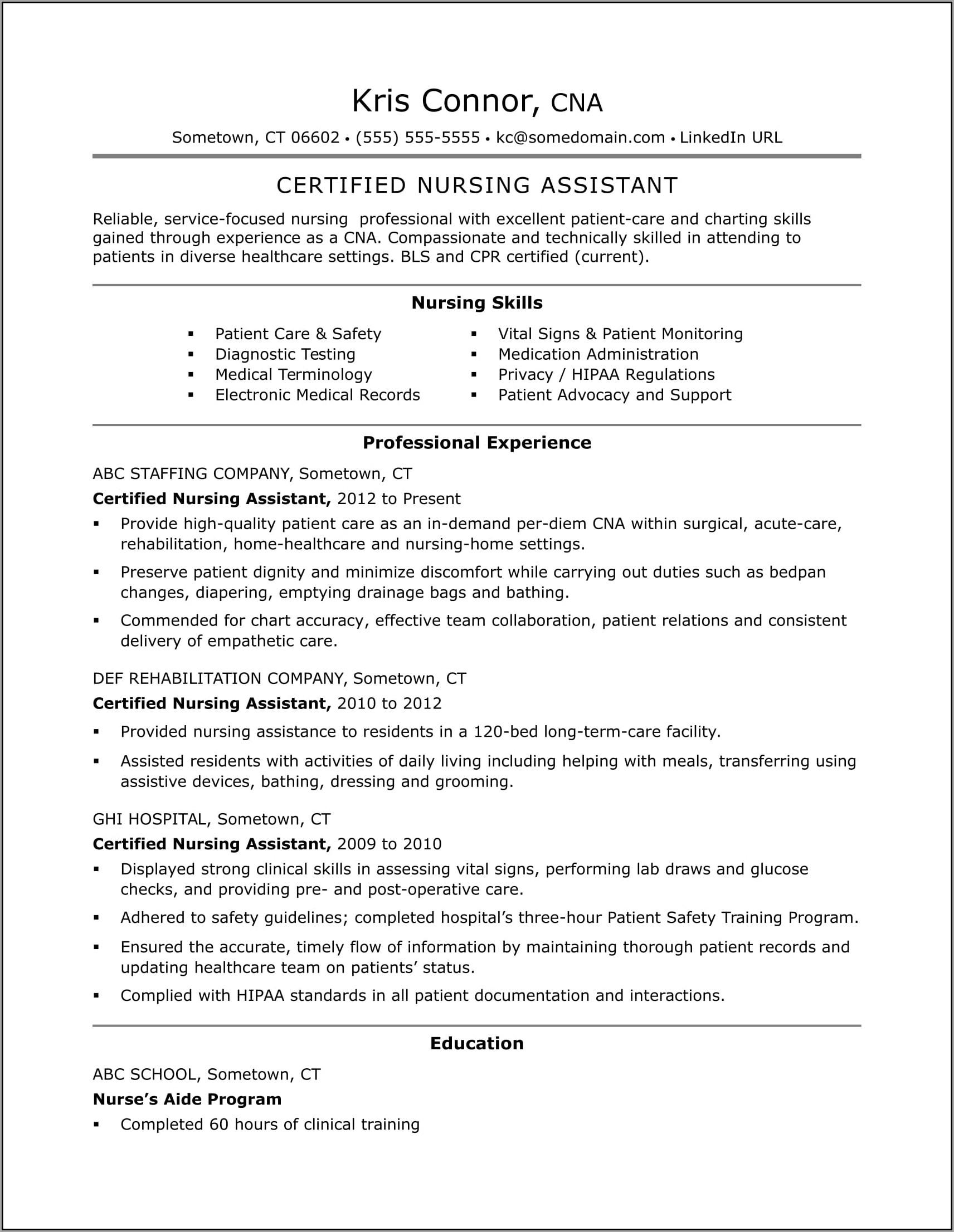 Free Printable Cna Resume