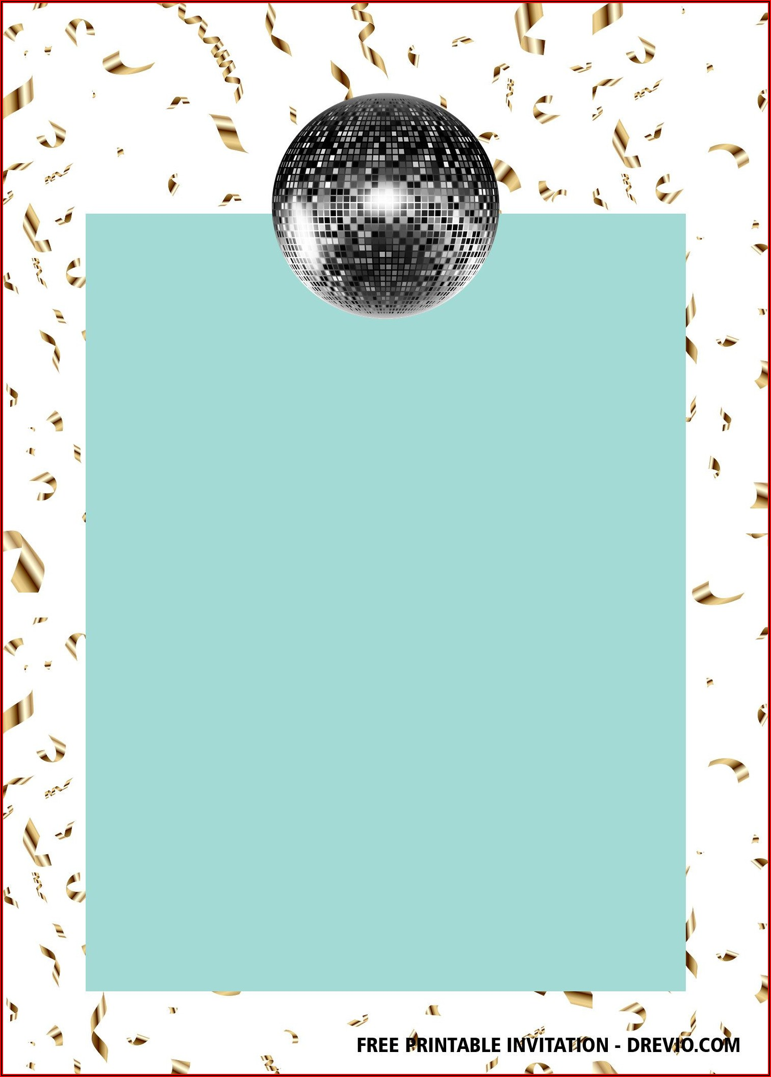 Free Printable Disco Birthday Invitation Templates