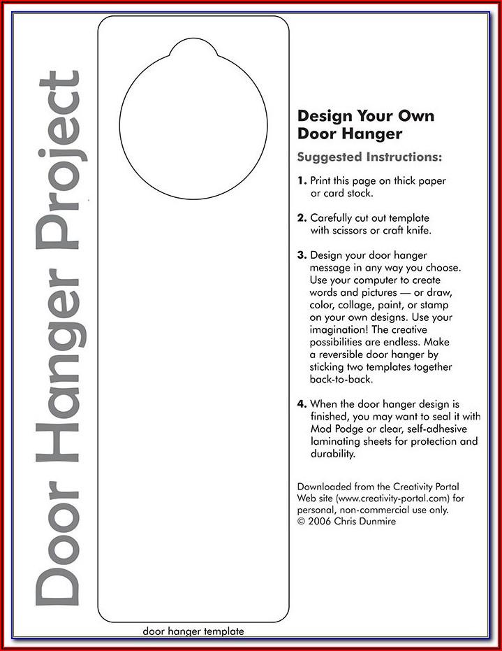 Free Printable Doorknob Hanger Template