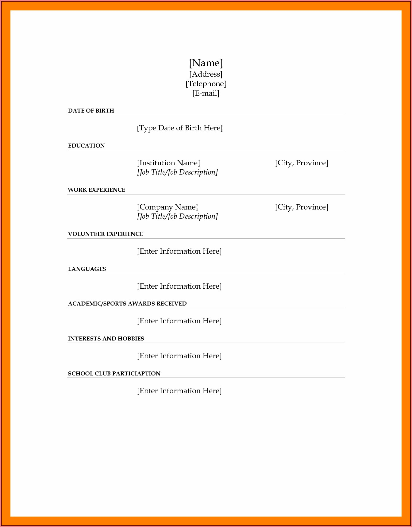 Free Printable Fill Blank Resume Templates