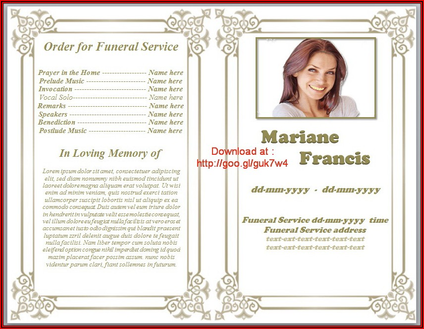 Free Printable Funeral Program Template Download