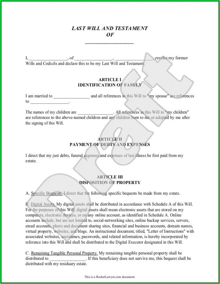 Free Printable Legal Will And Testament Forms
