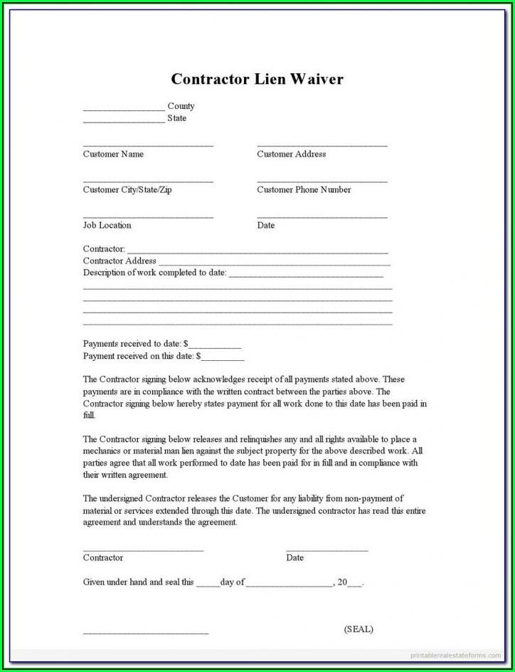 Free Printable Lien Release Form