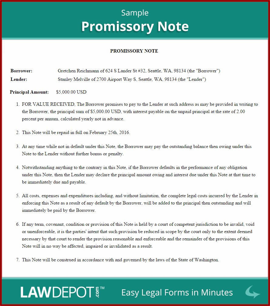 Free Promissory Note Template Canada