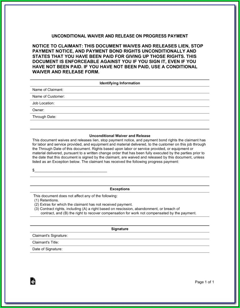 Free Property Lien Release Form