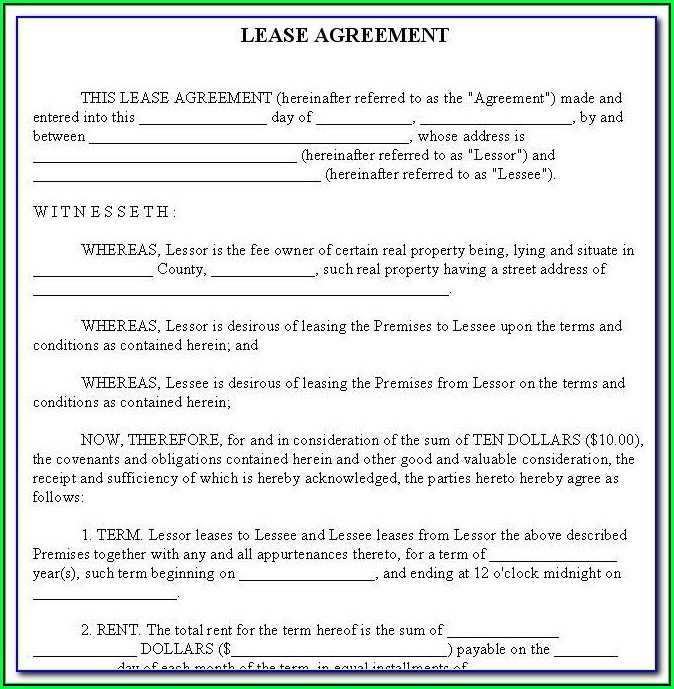 Free Rental Agreement Form Oregon