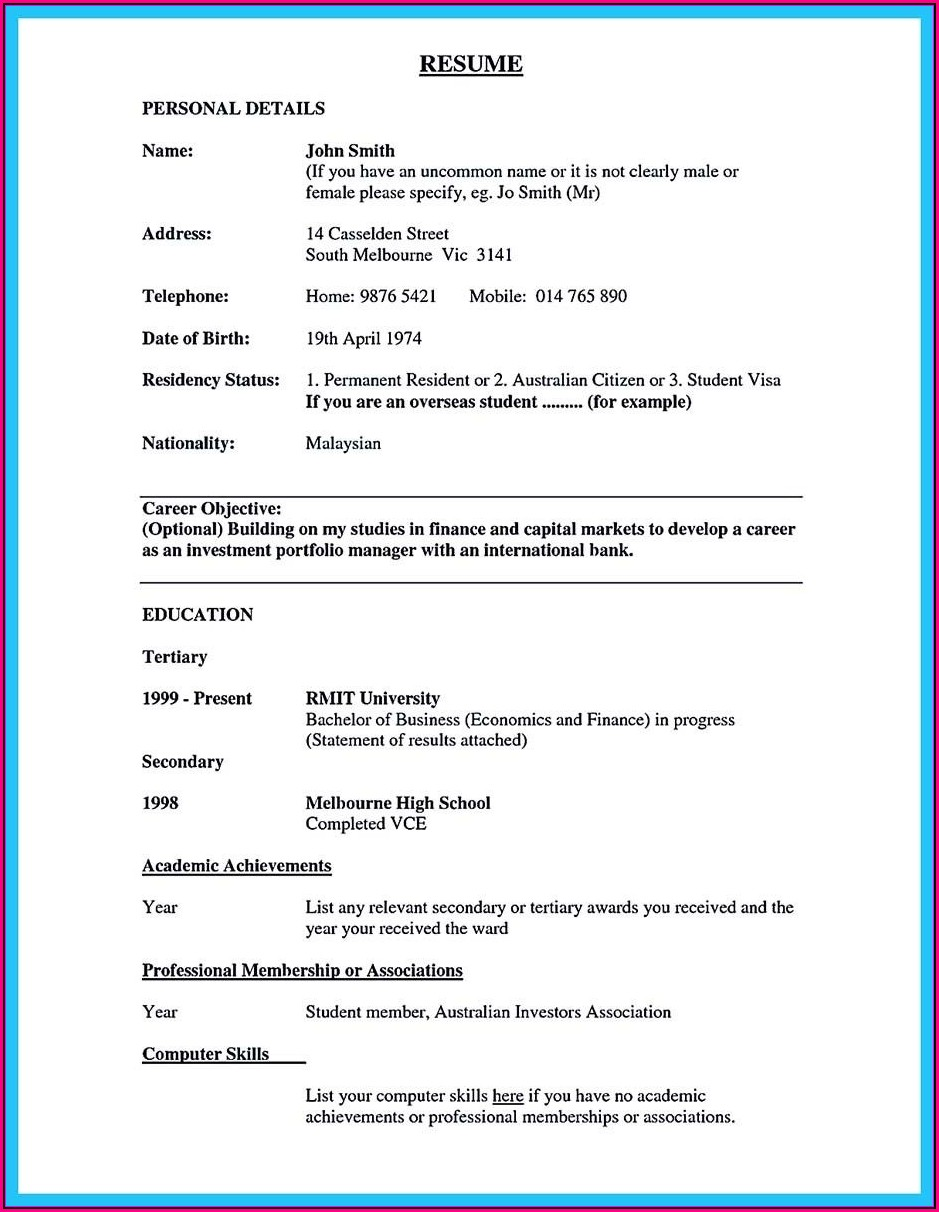 Free Resume Sample For Banking Jobs