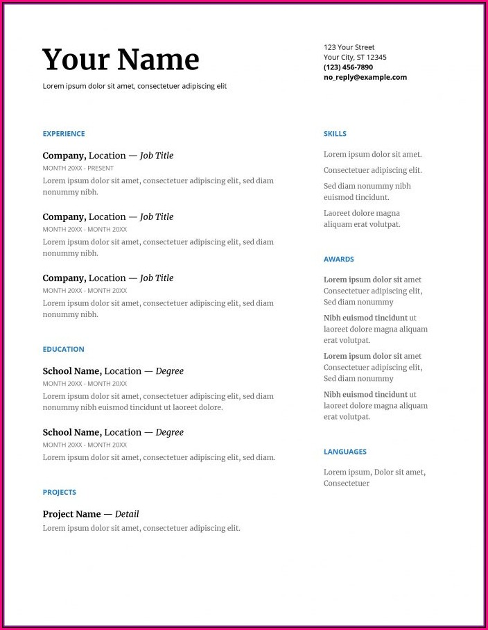 Free Resume Template For Microsoft Word 2007