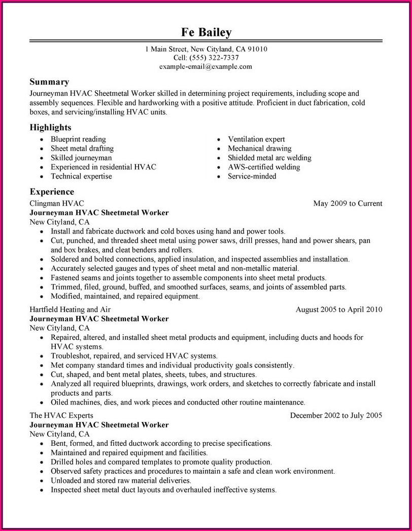 Free Resume Templates Construction Laborer