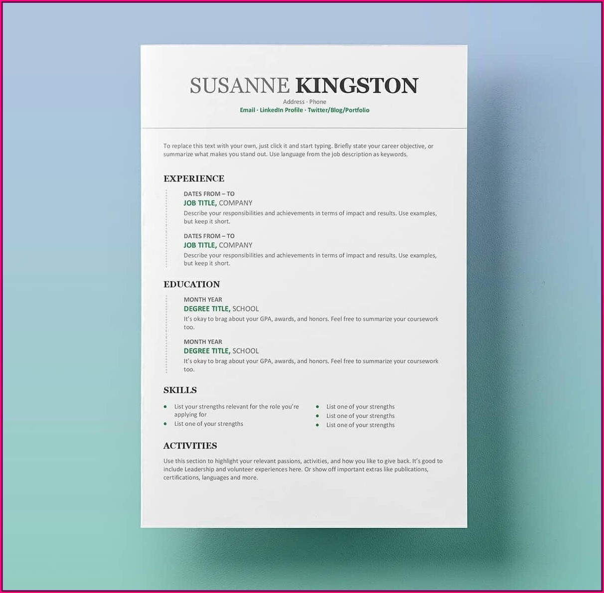 Free Resume Word Template