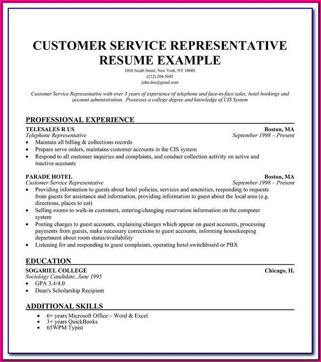 Free Sample Resume For Customer Service Representative