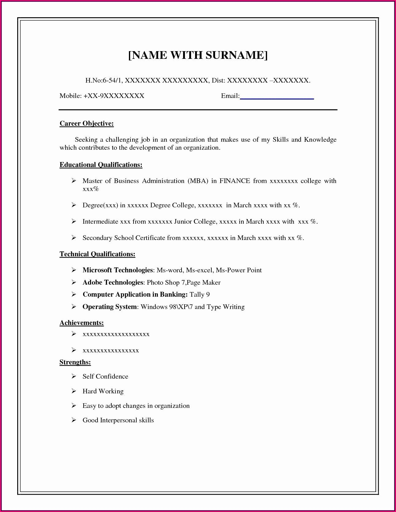 Free Samples Of Resume Templates