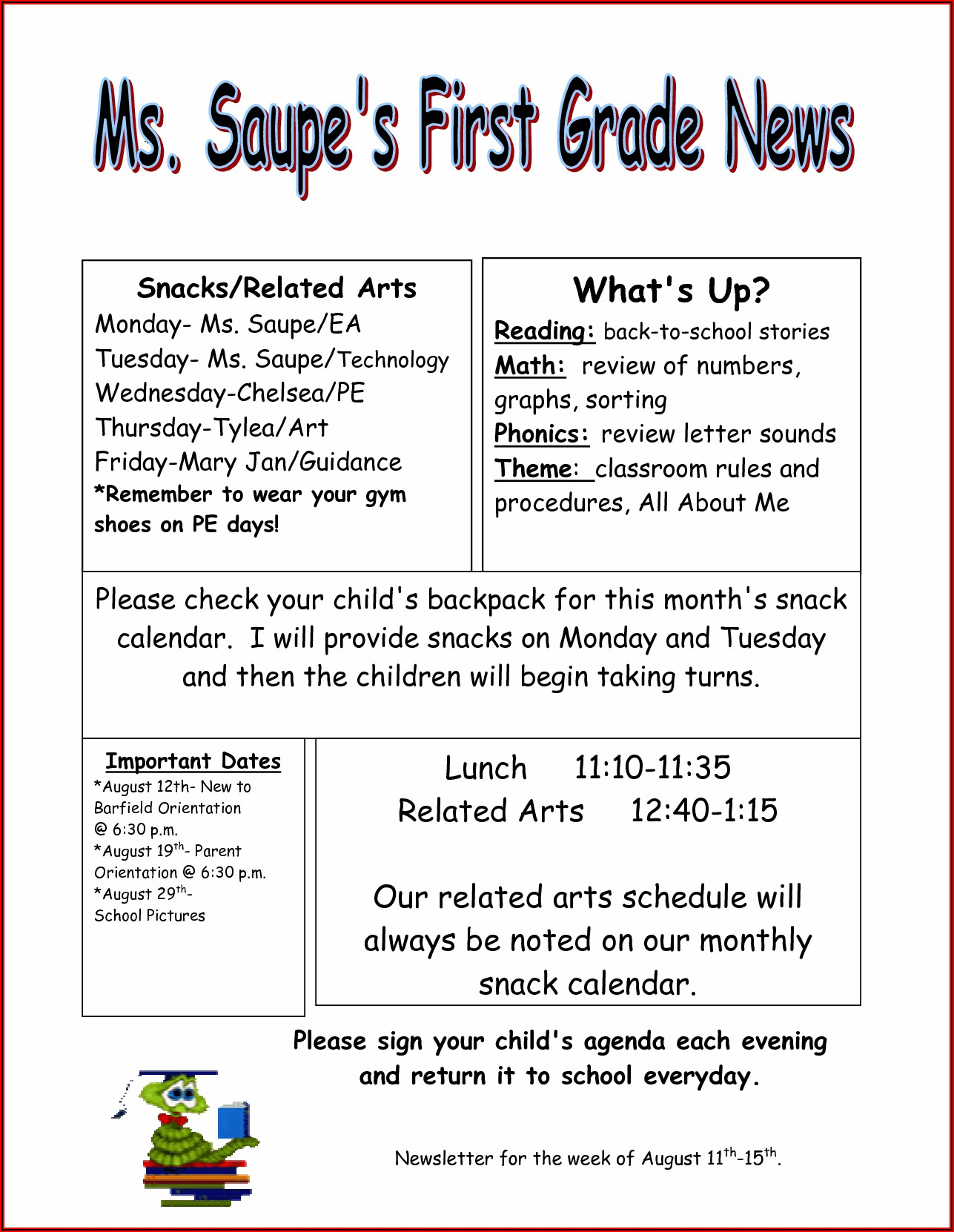 Free Weekly Newsletter Templates For Teachers