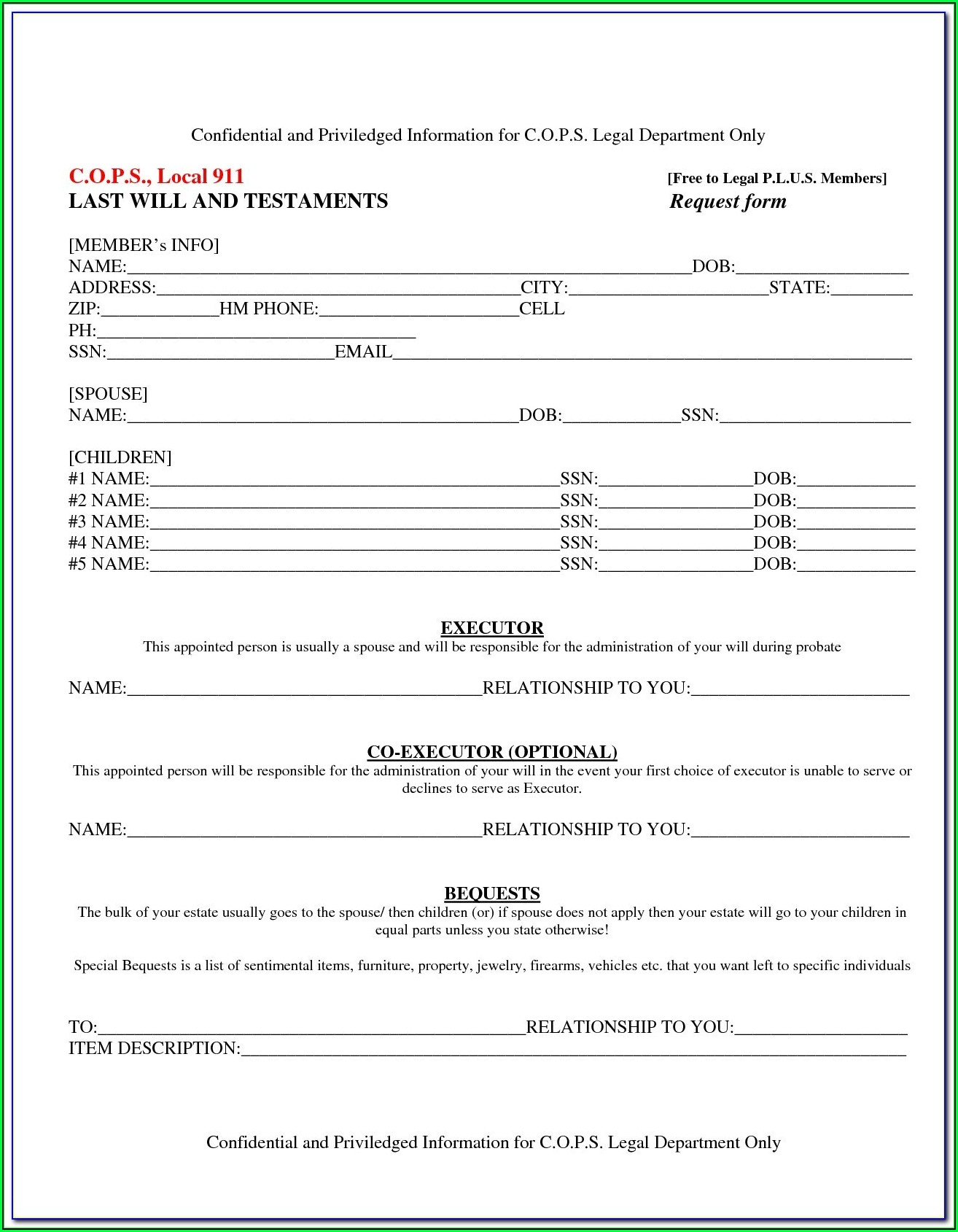 Free Will And Testament Forms Printable