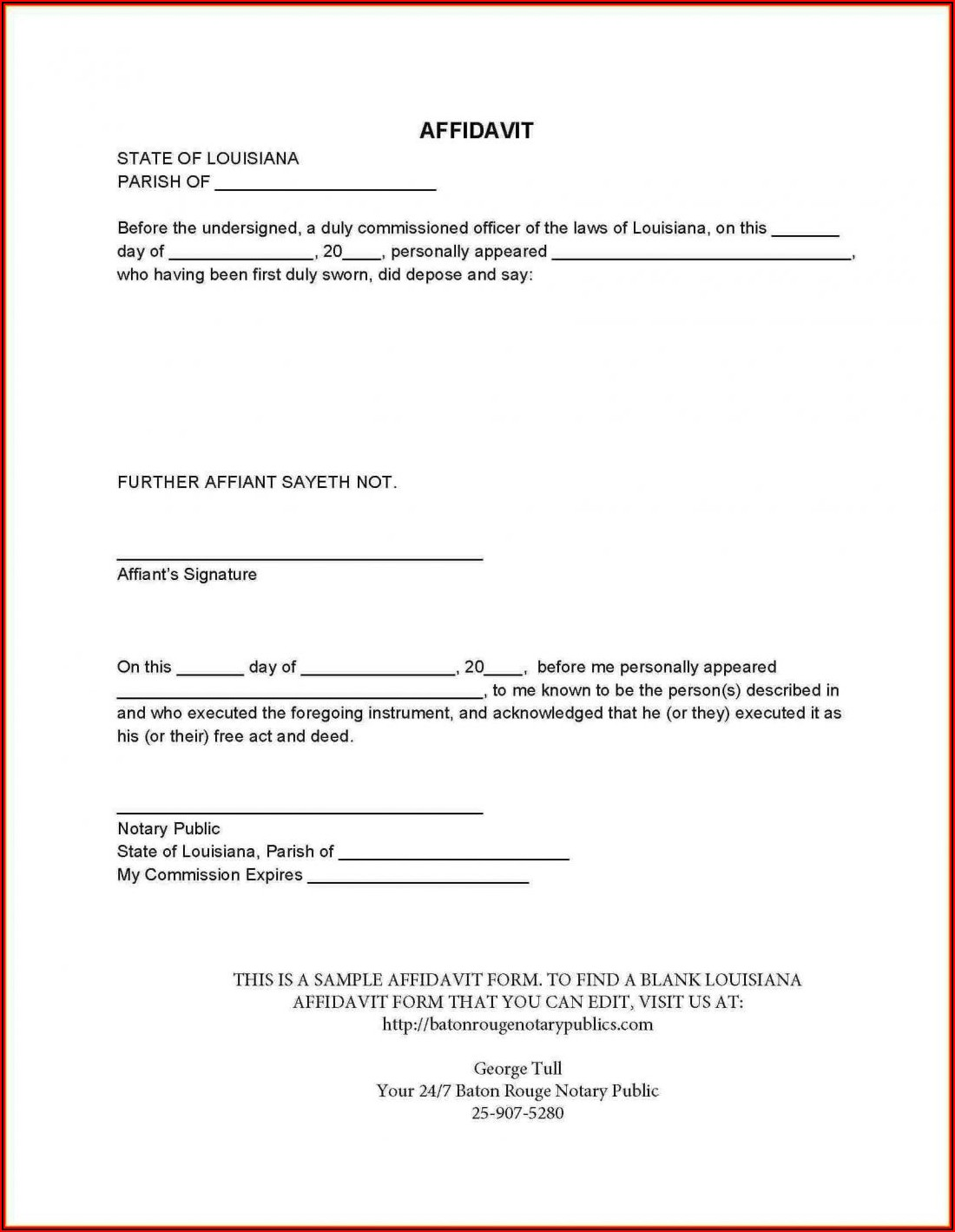 General Affidavit Template Qld