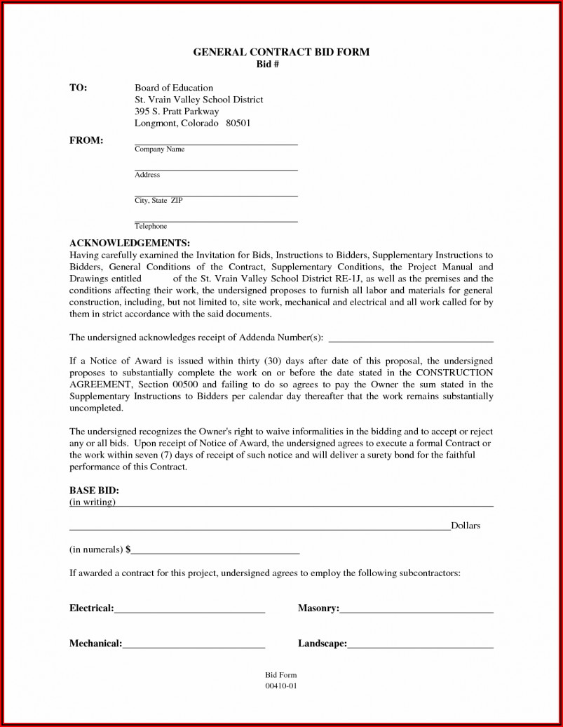 General Contractor Construction Contract Template