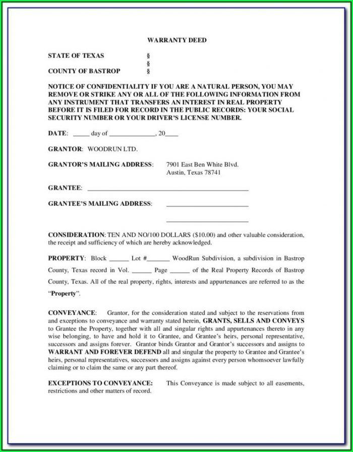 General Warranty Deed Texas Form