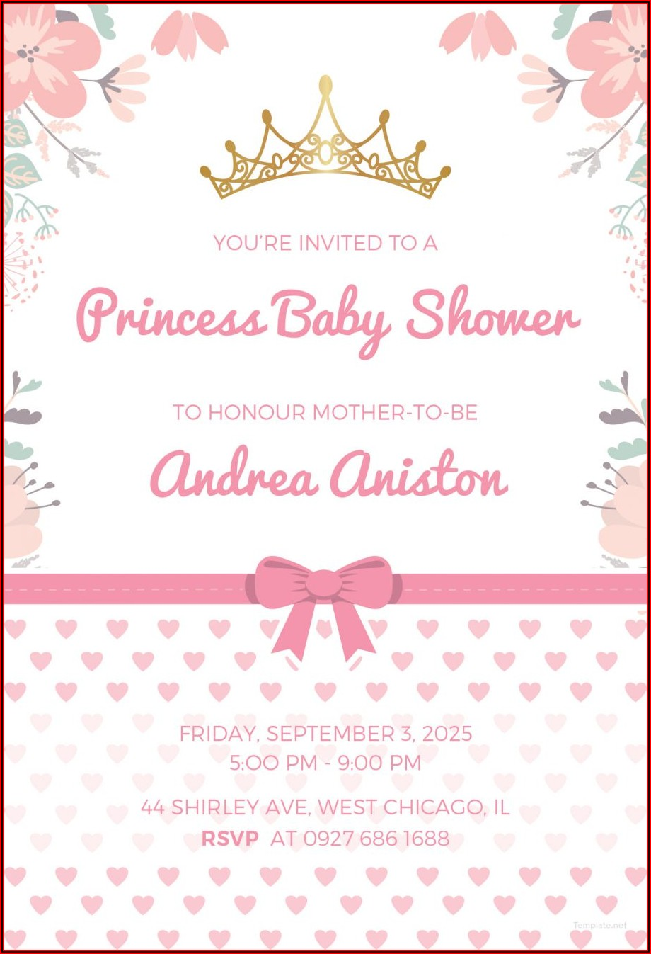 Girl Baby Shower Invitations Templates Editable