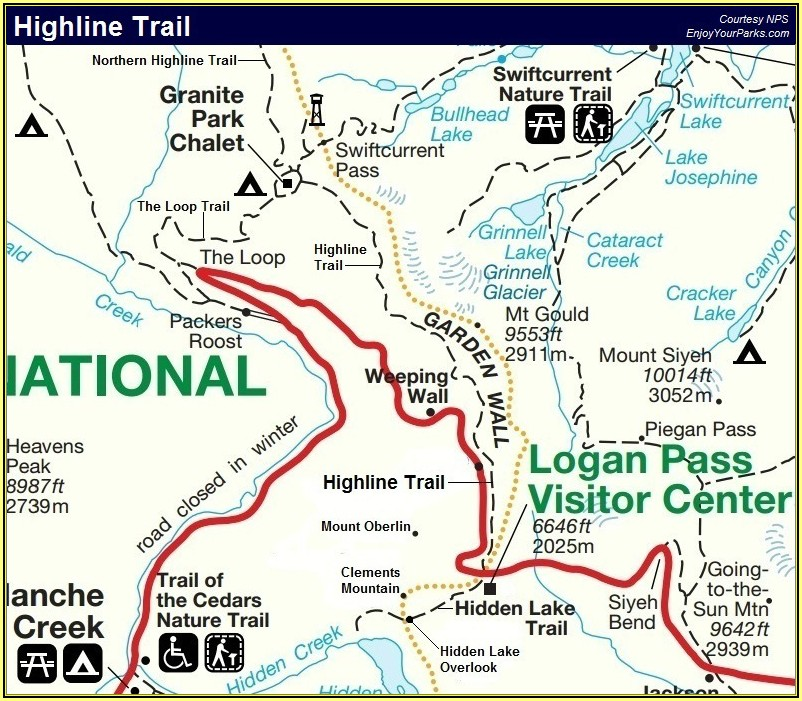Glacier National Park Canada Trail Map