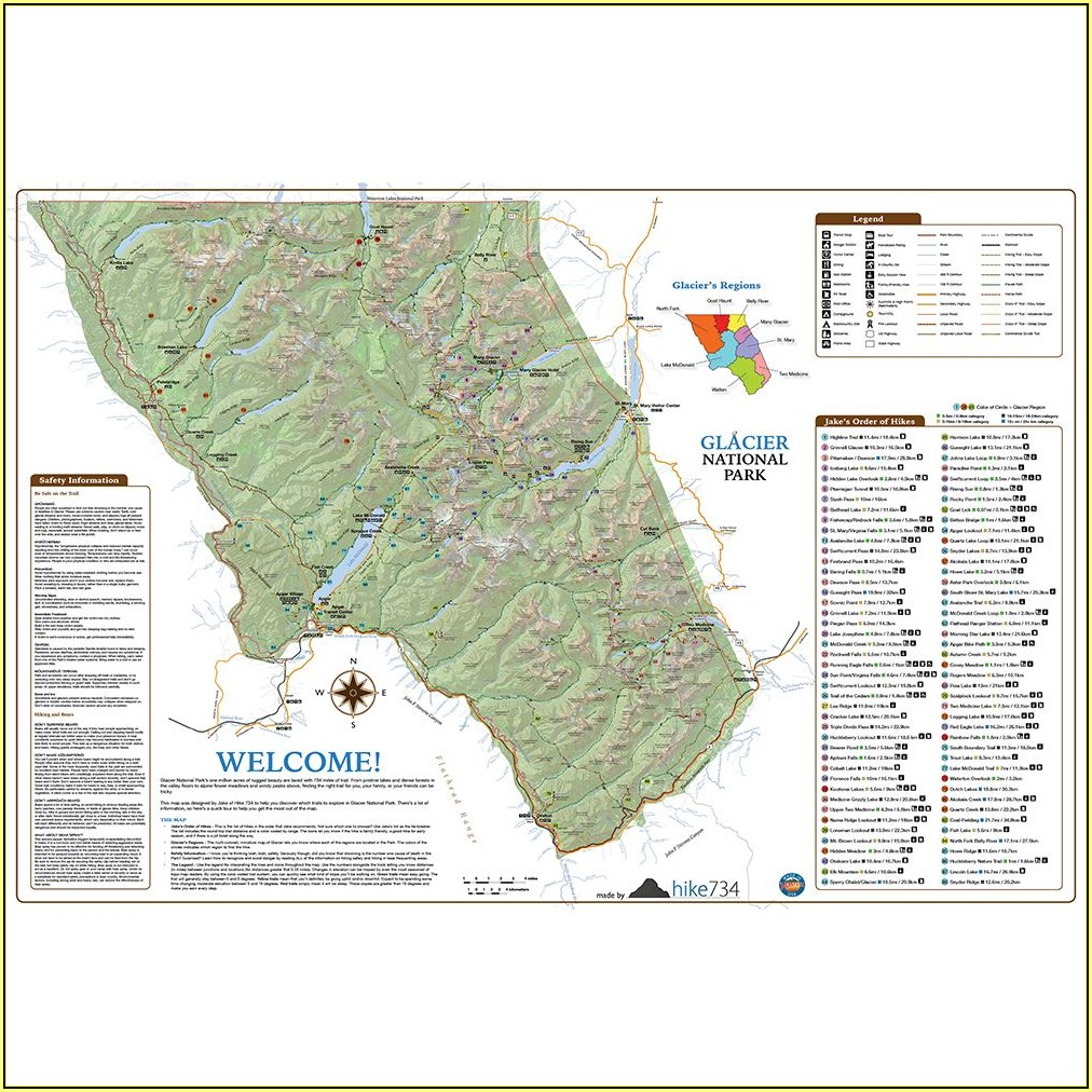 Glacier National Park Hikes Map