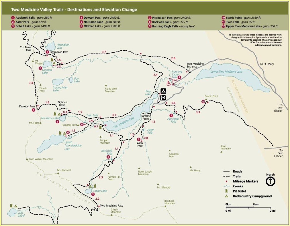 Glacier National Park Trail Map Pdf