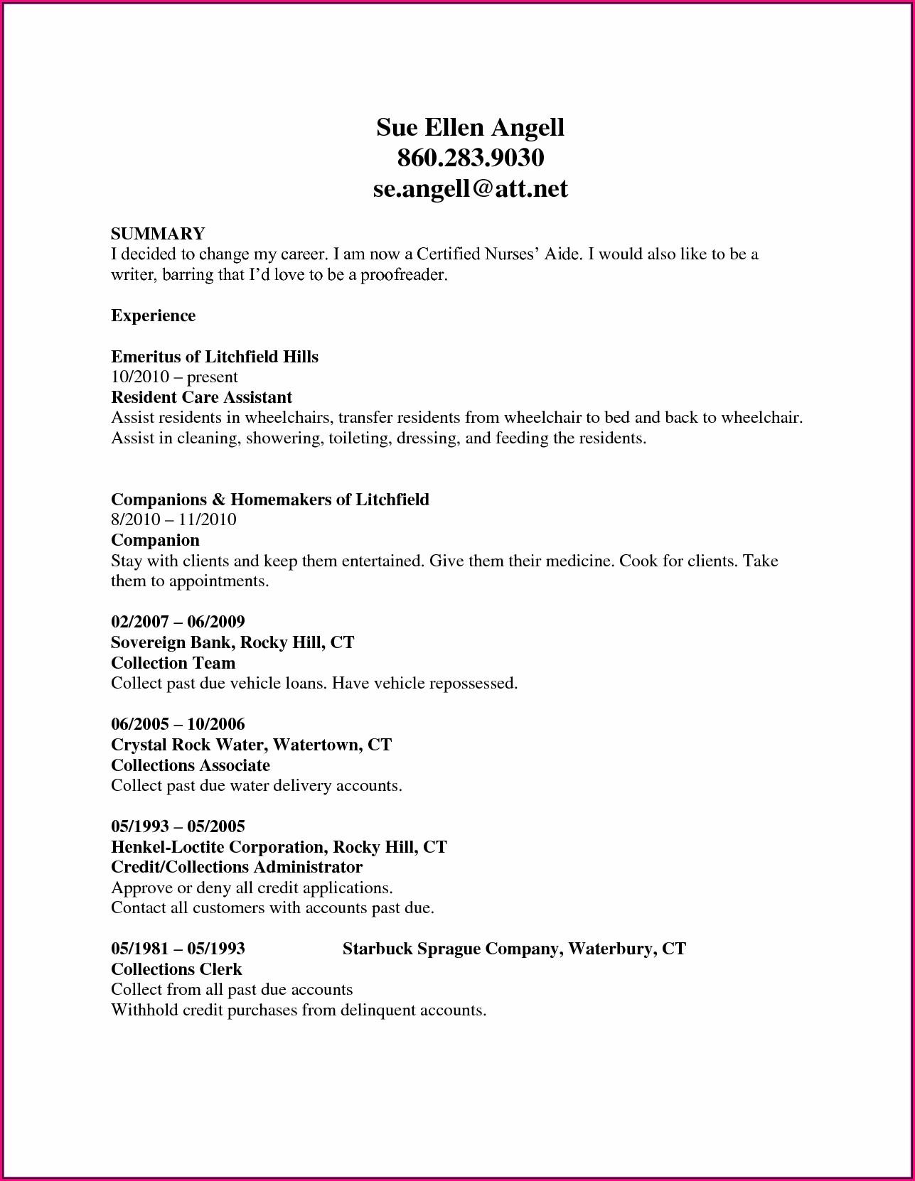 Good Nursing Assistant Resume Samples