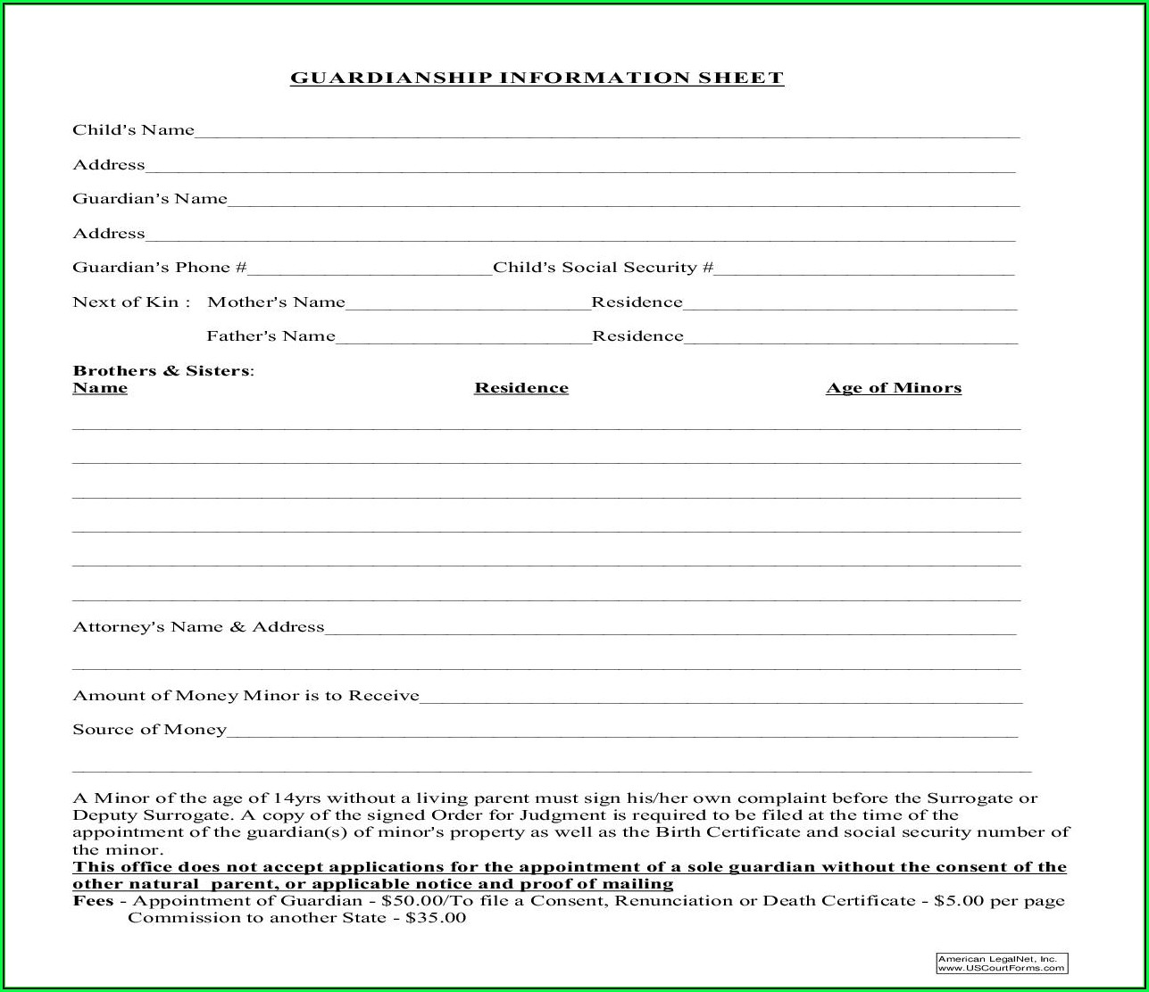 Guardianship Forms In New Jersey