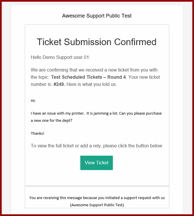 Helpdesk Email Template Samples