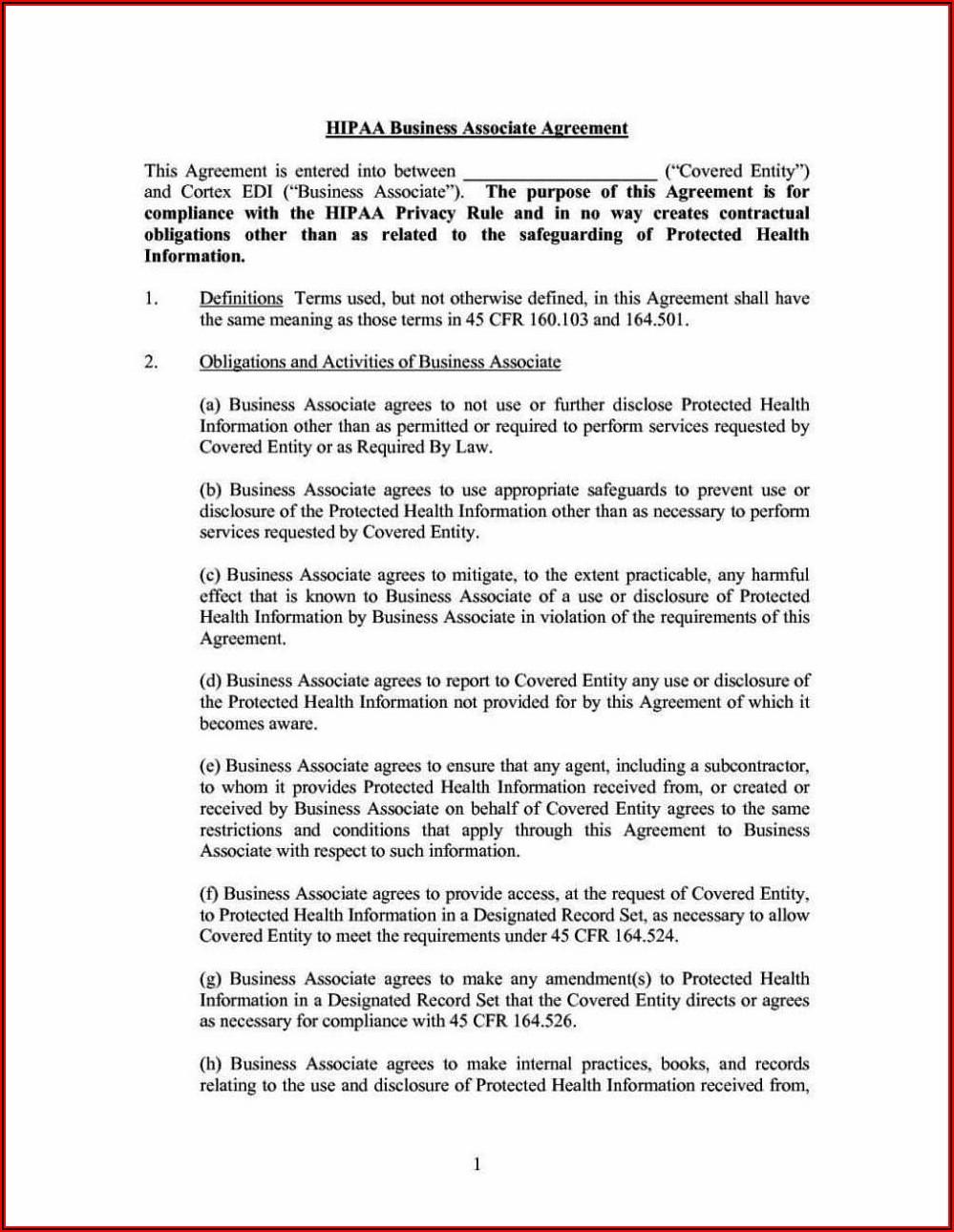 Hipaa Business Agreement Template