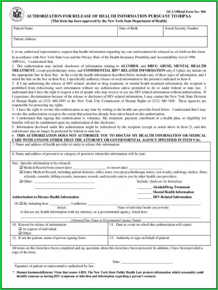 Hipaa Compliant Authorization Form New York