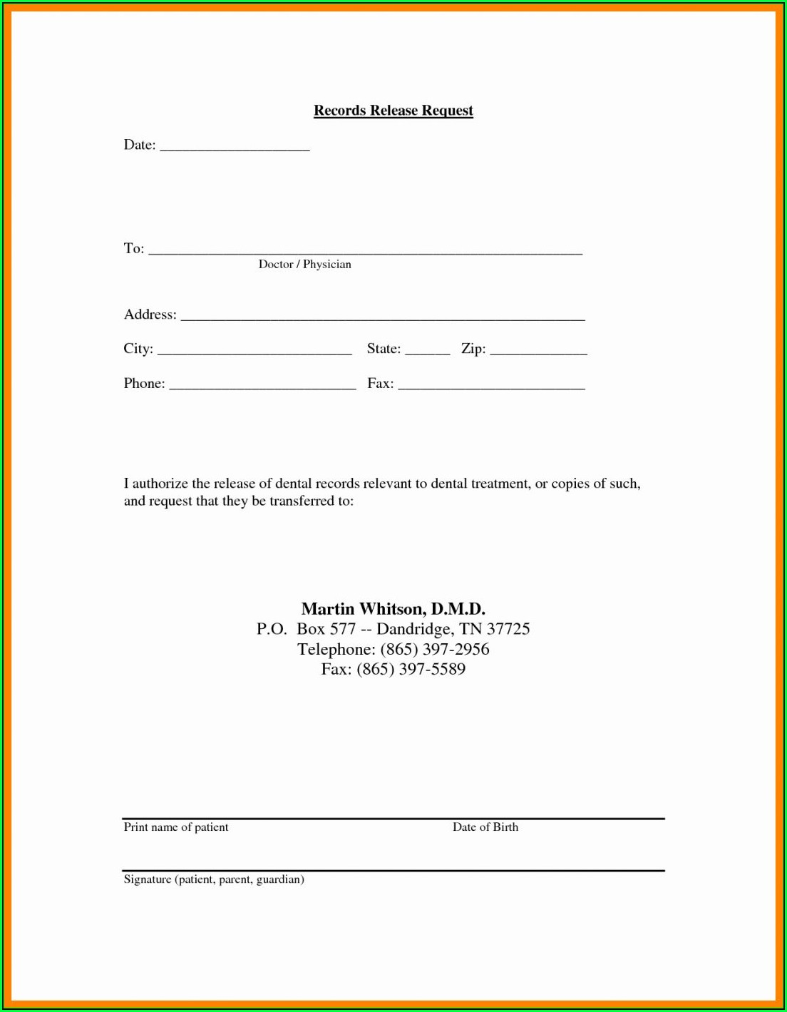Hipaa Compliant Authorization Form Release Medical Records