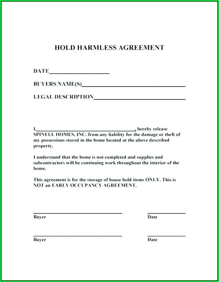 Hold Harmless Waiver Template