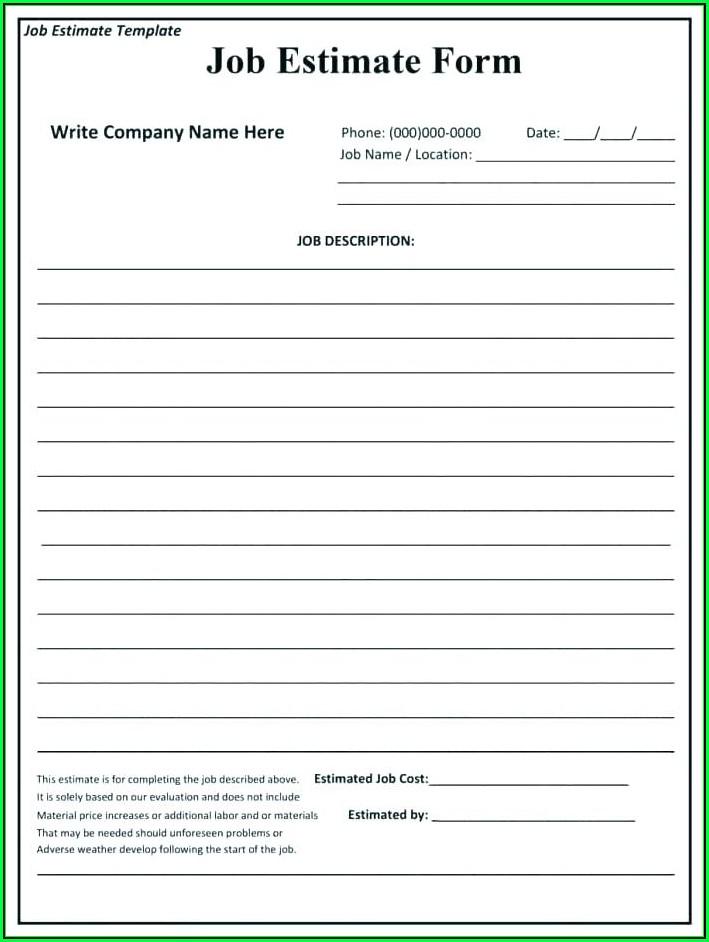 Home Repair Estimate Form Template Free