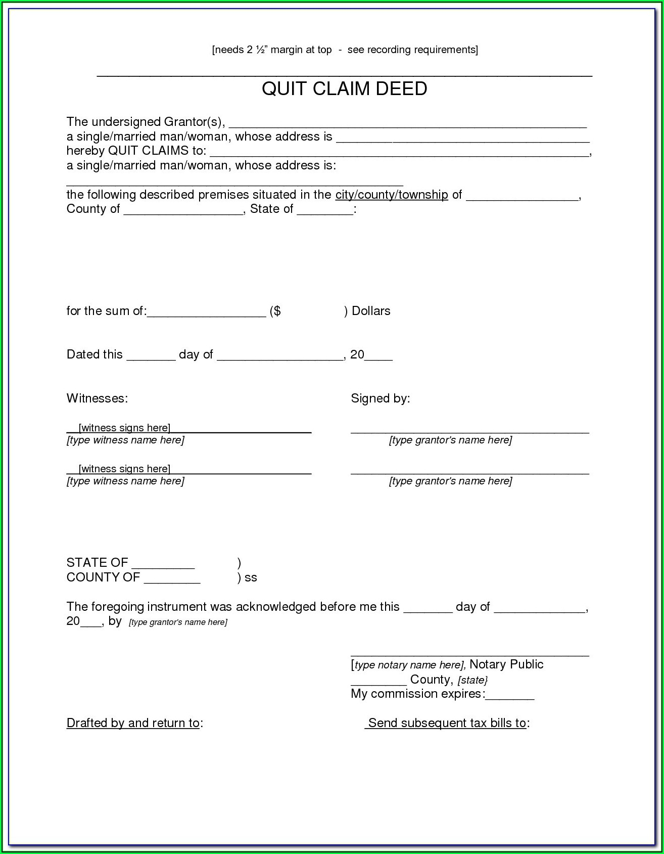 How To Fill Out Quit Claim Deed Form Nevada