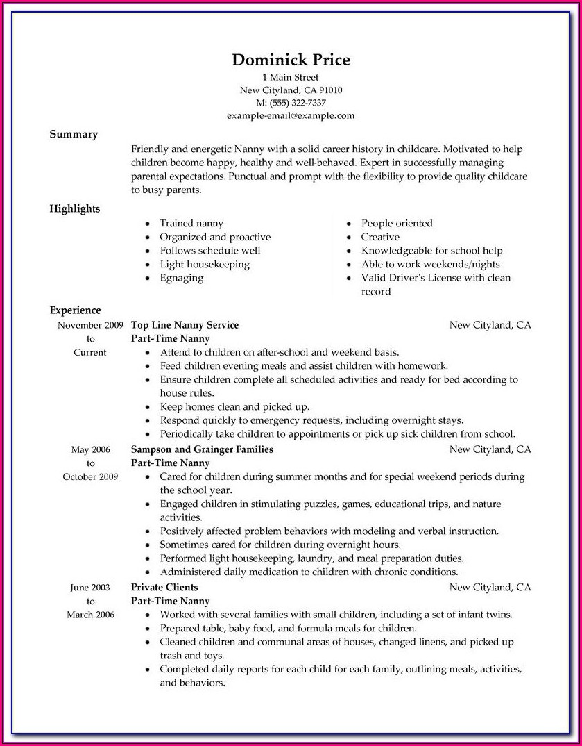 How To Make A Simple Resume For Part Time Job