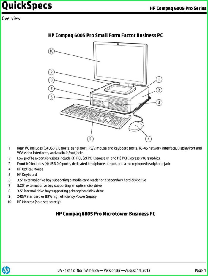 Hp Compaq 6005 Pro Small Form Factor Pc Service Manual