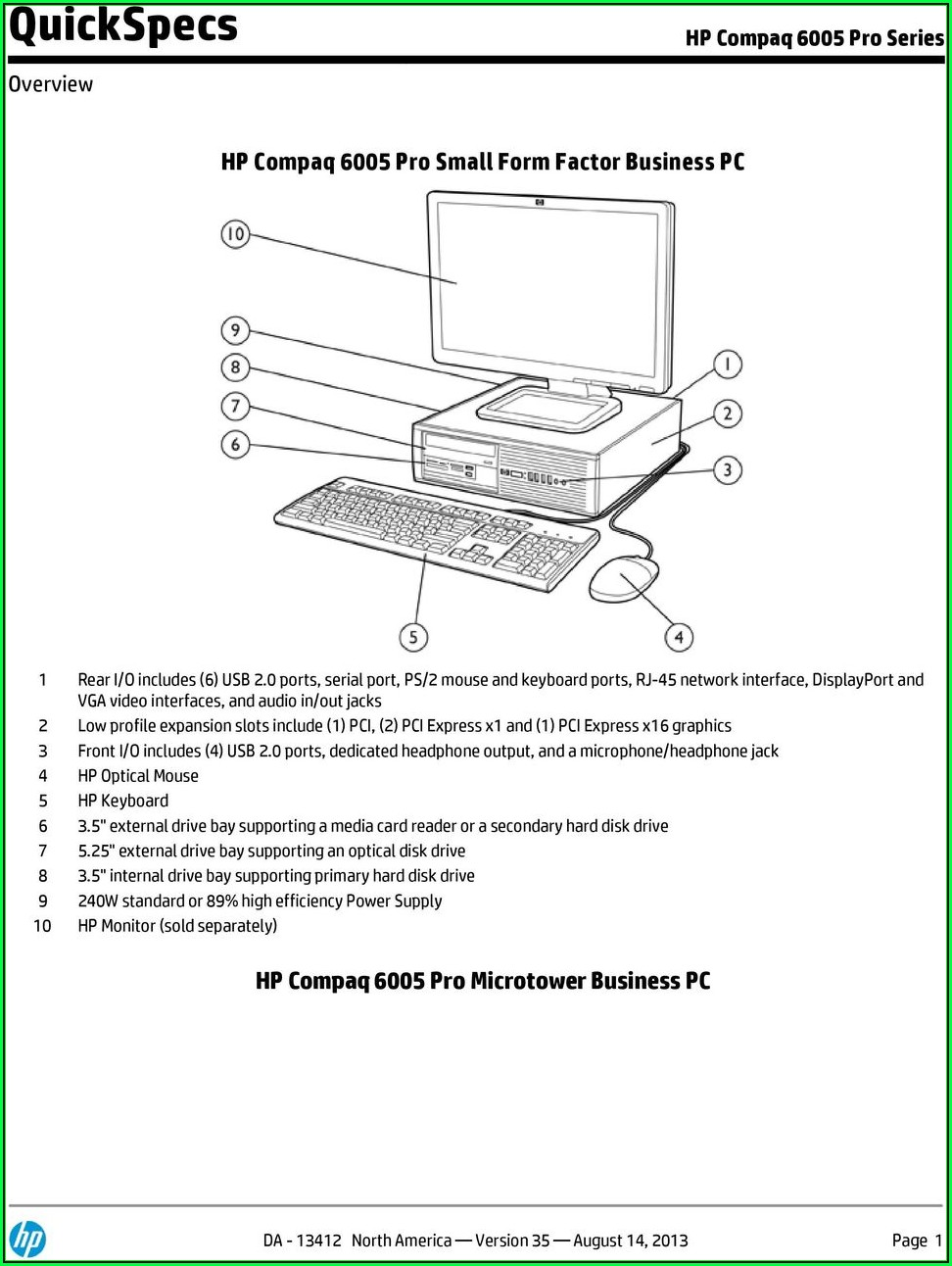 Hp Compaq 6005 Pro Small Form Factor Pc Service Manual