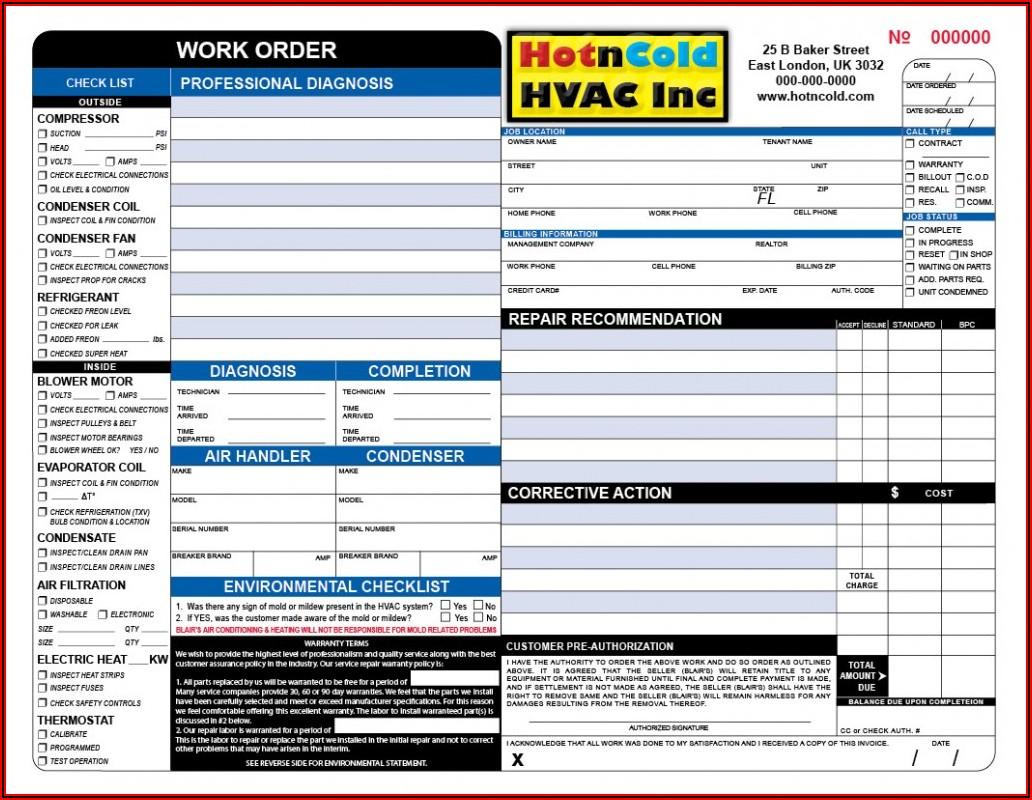 Hvac Estimate Forms