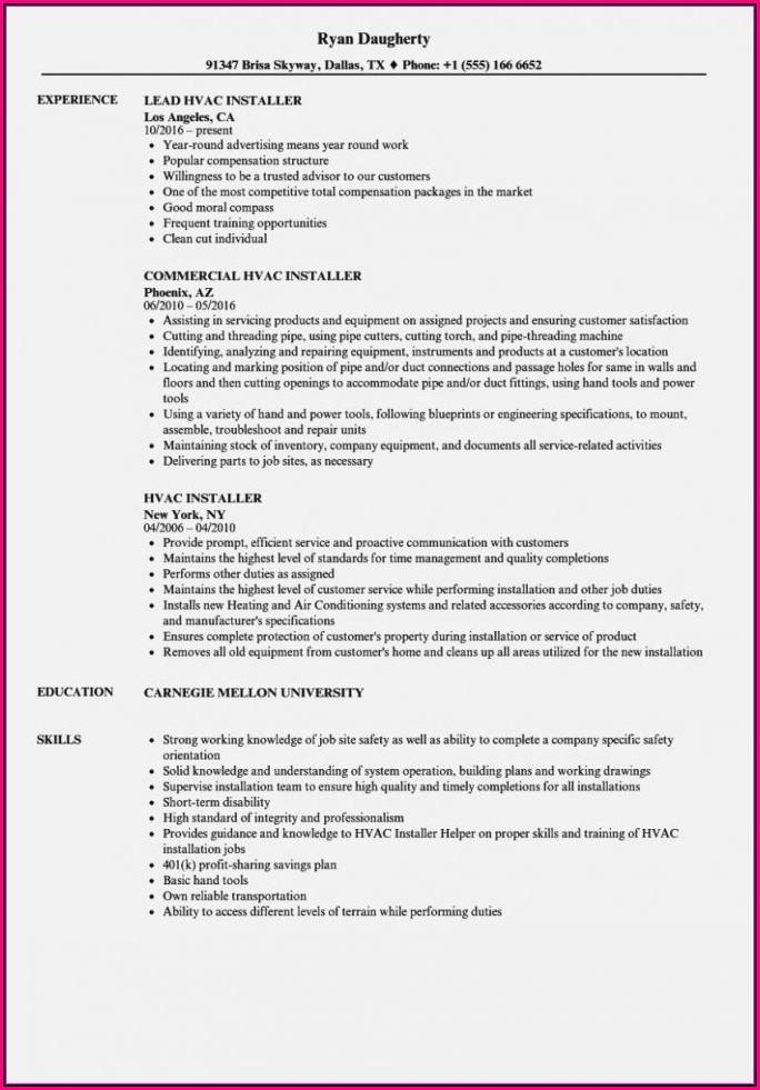 Hvac Installer Helper Resume