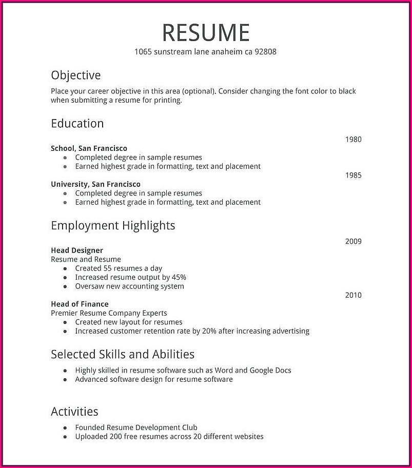 I Want To Make A Resume And Print It Out For Free