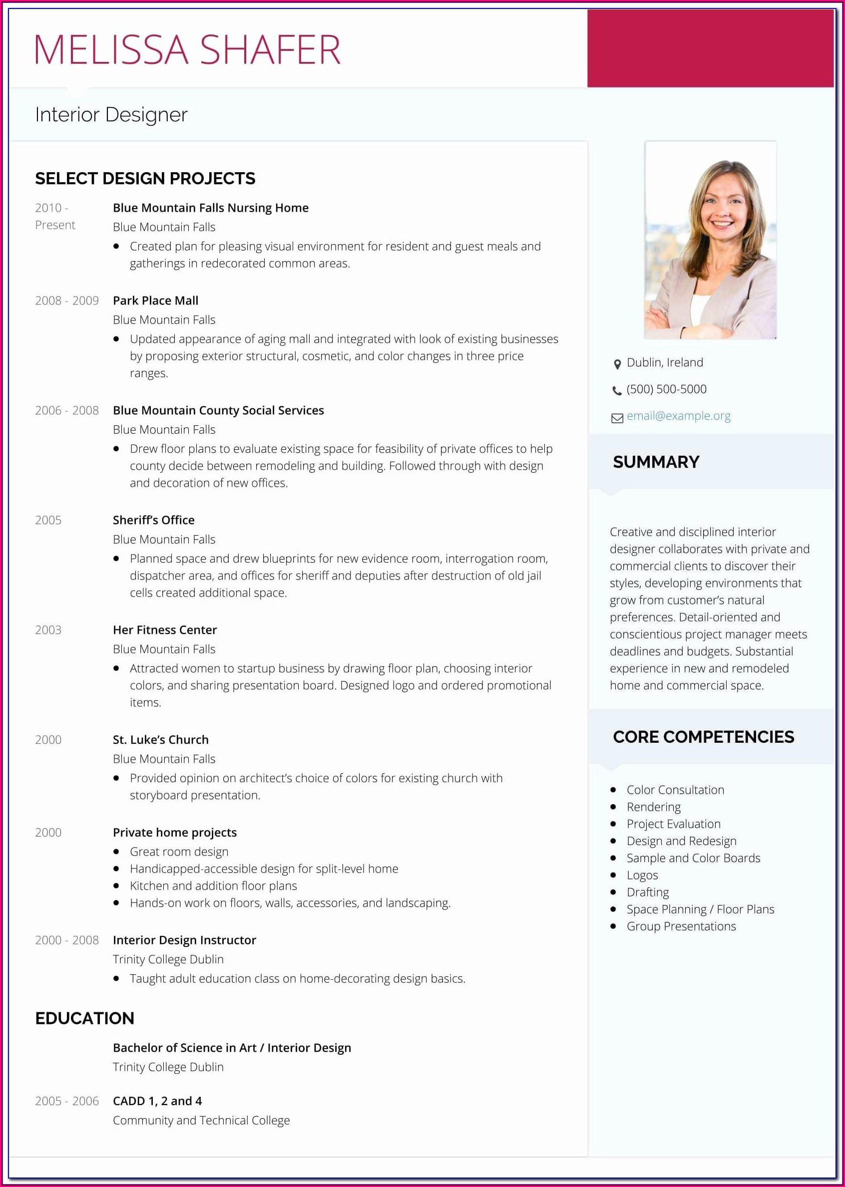 Interior Designer Resume Format Free Download