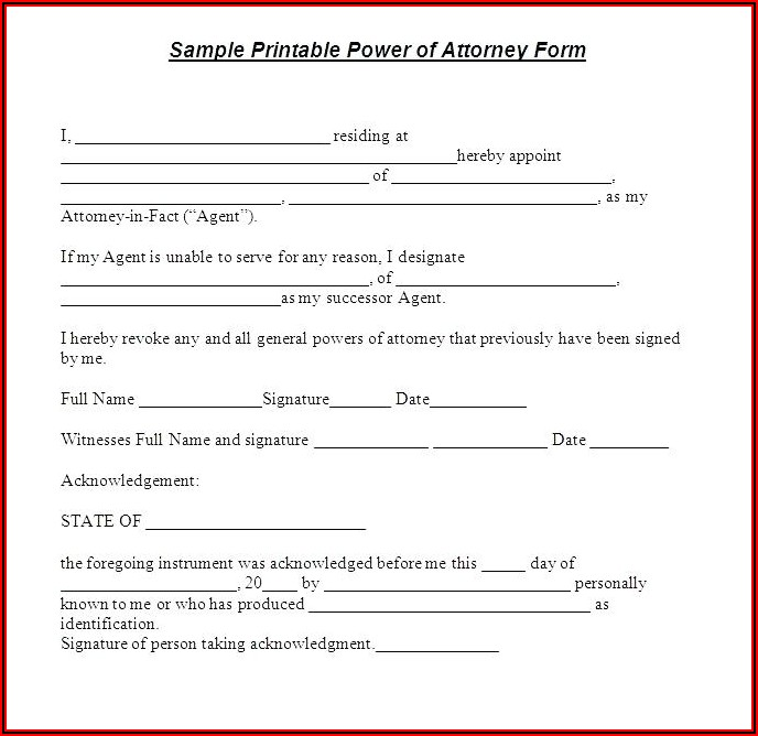 Irrevocable Power Of Attorney Template
