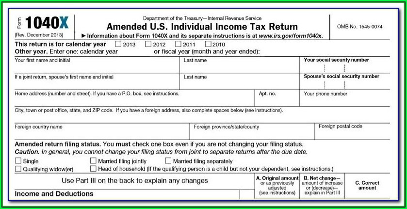 Irs 1040x Fillable Form