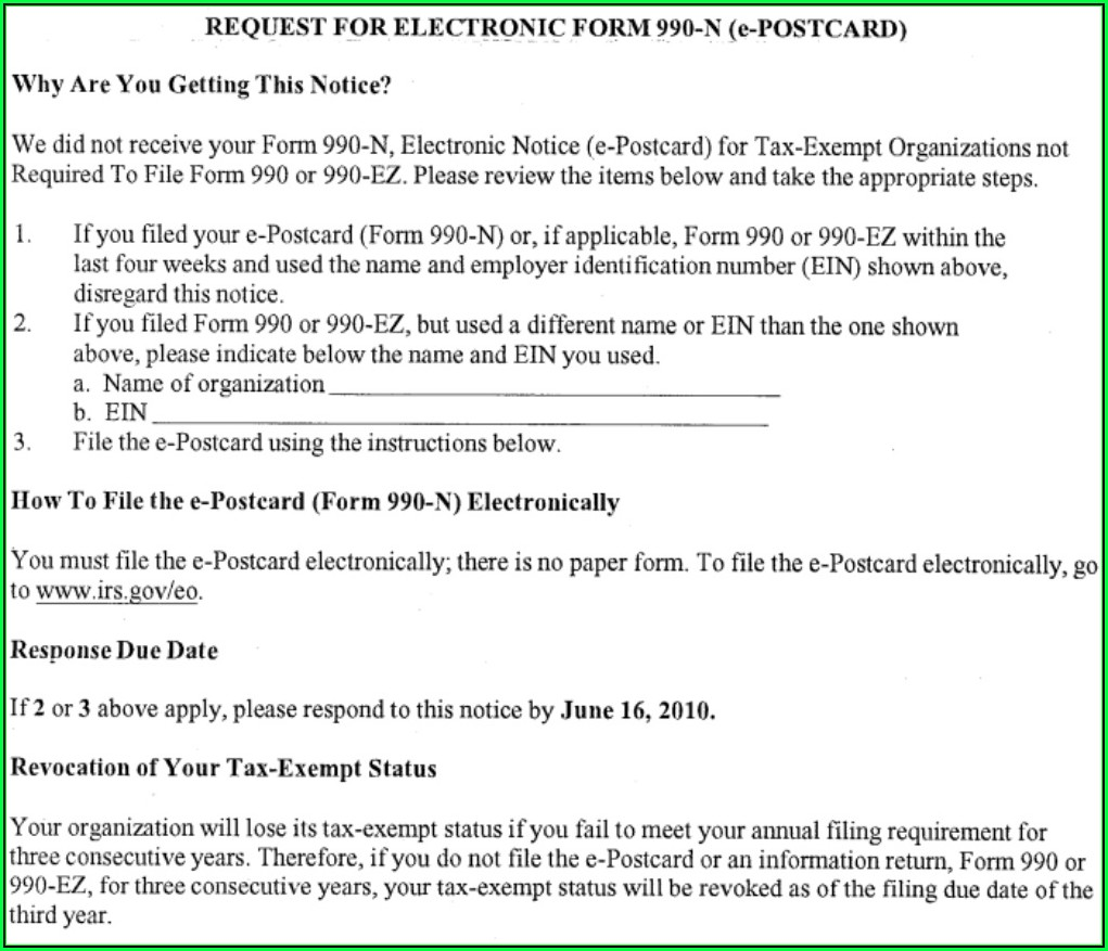 Irs Manage Form 990 N (e Postcard)