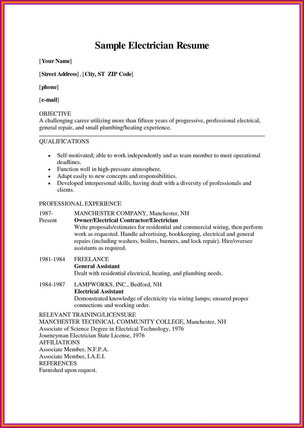 Iti Electrician Resume Sample In Word Format Download