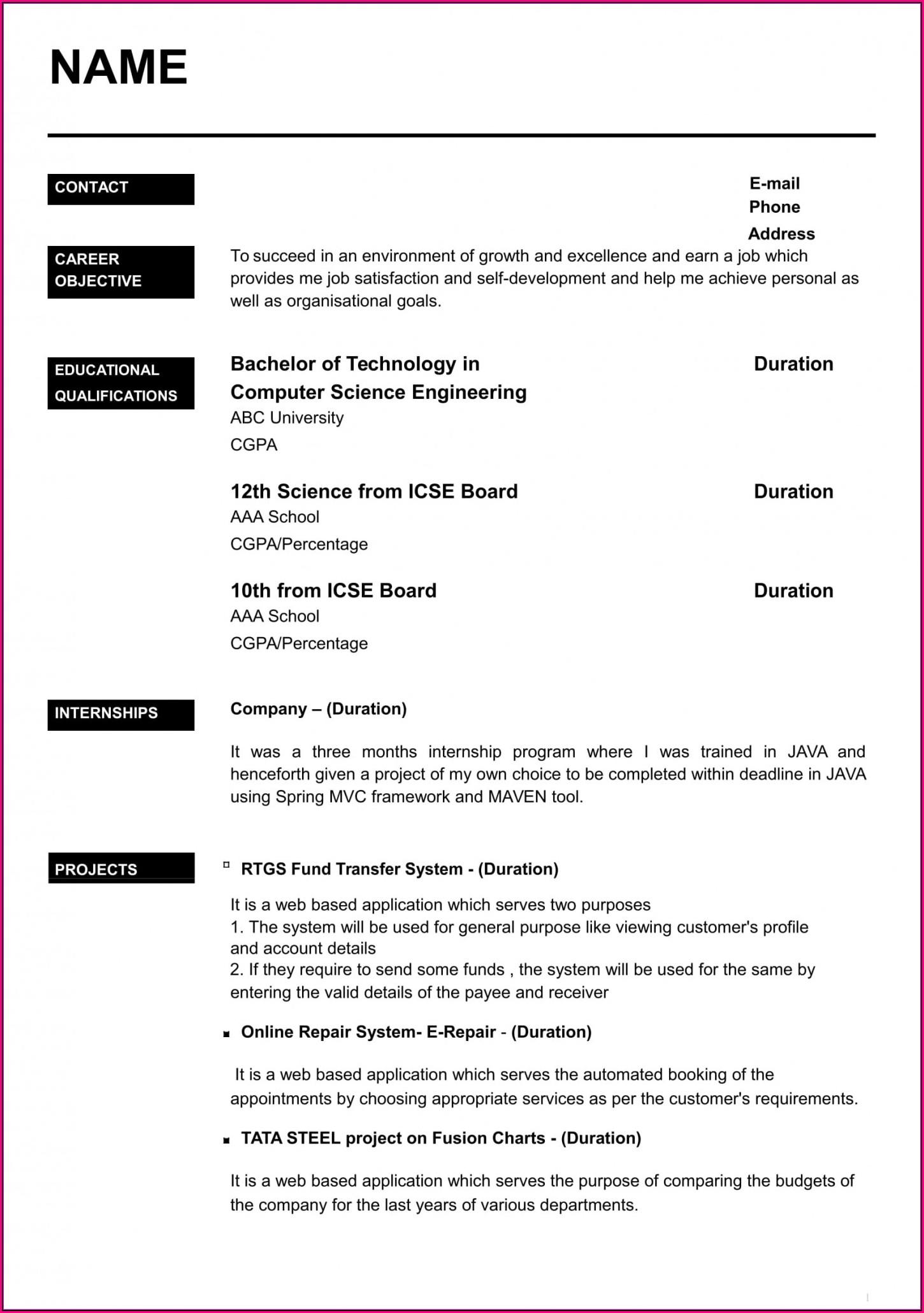 Job Resume Template Download