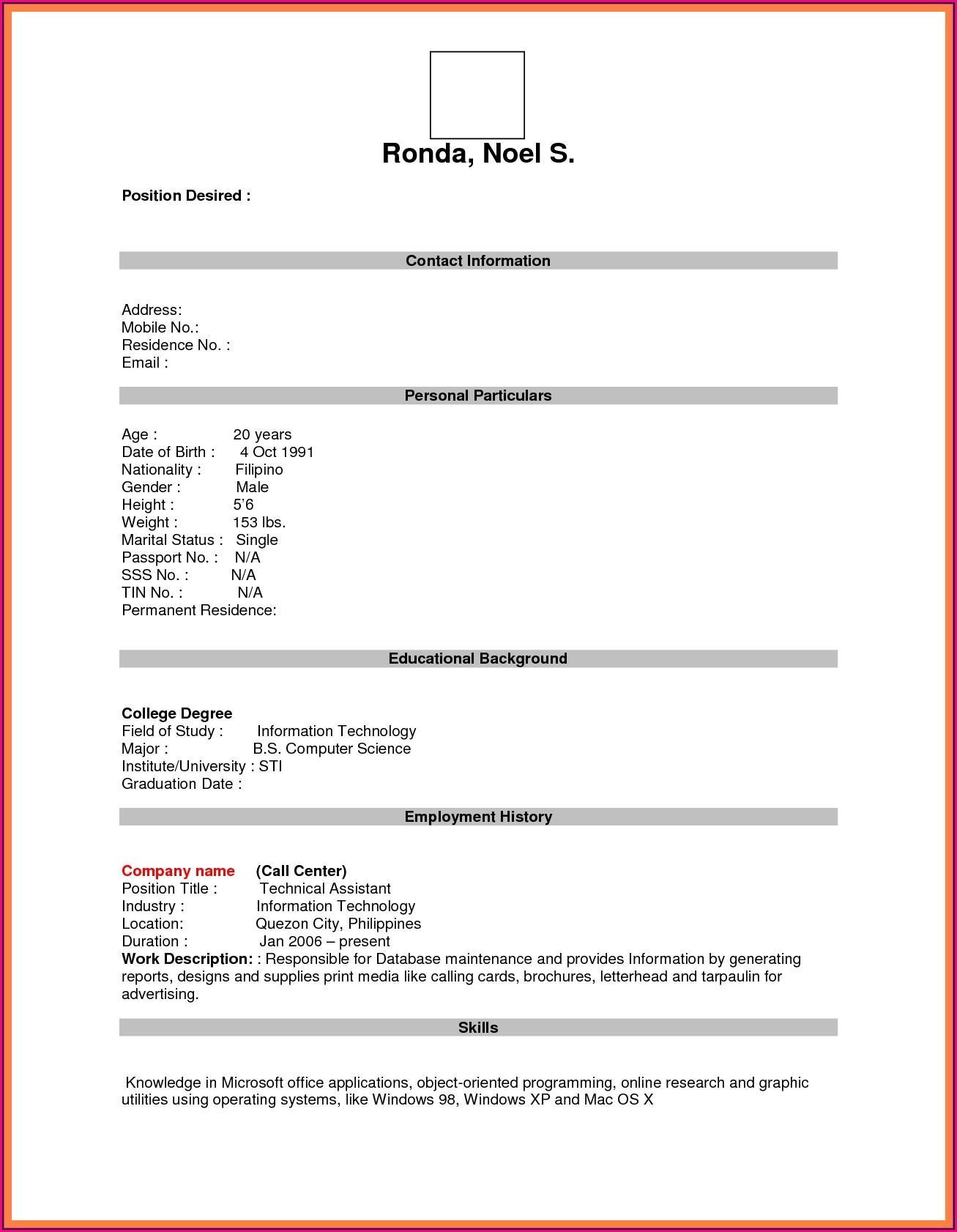 Job Resume Template Pdf Download
