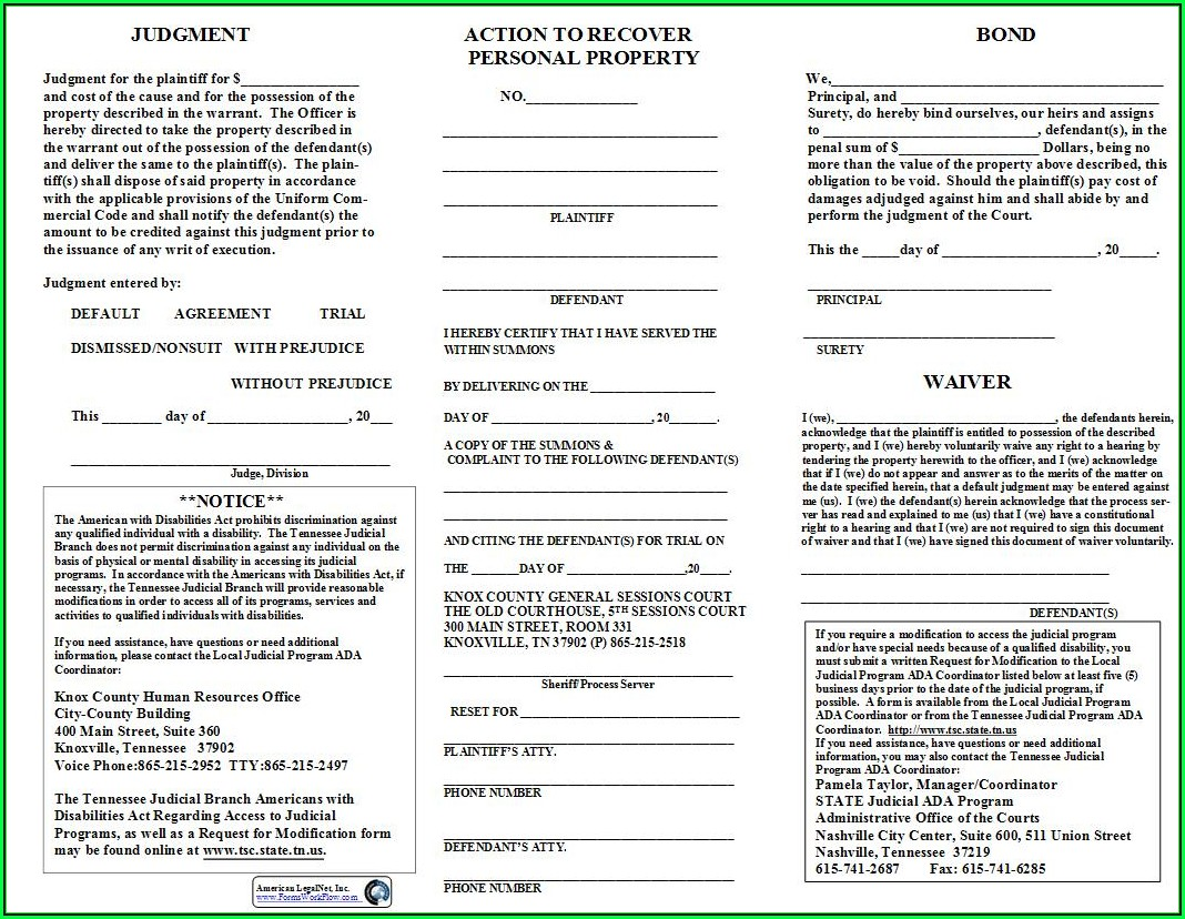 Knox County Tennessee General Sessions Court Forms
