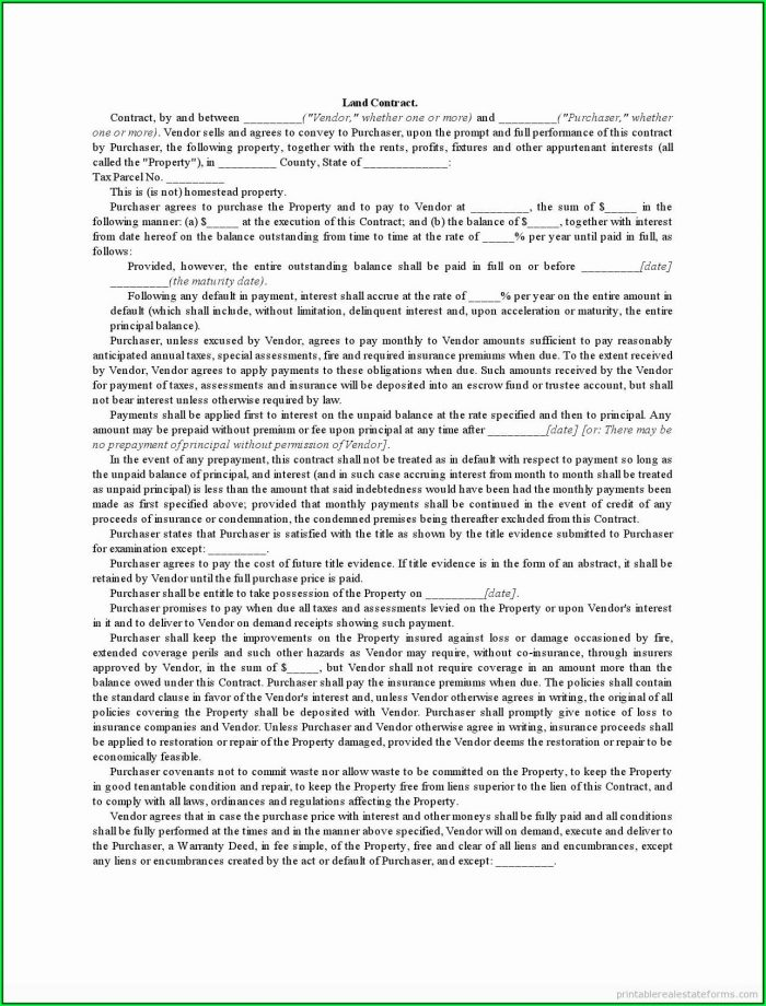 Land Contract Form Wisconsin
